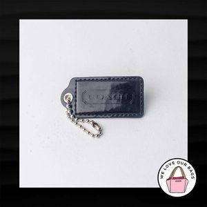 "2.5"" Large COACH BLACK PATENT LEATHER KEY FOB"